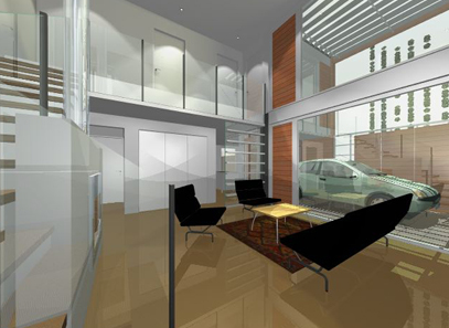 internal view: double height living room